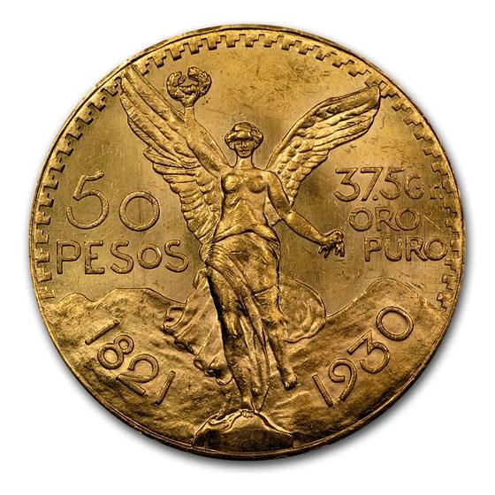 1930 Mexico Gold 50 Pesos BU