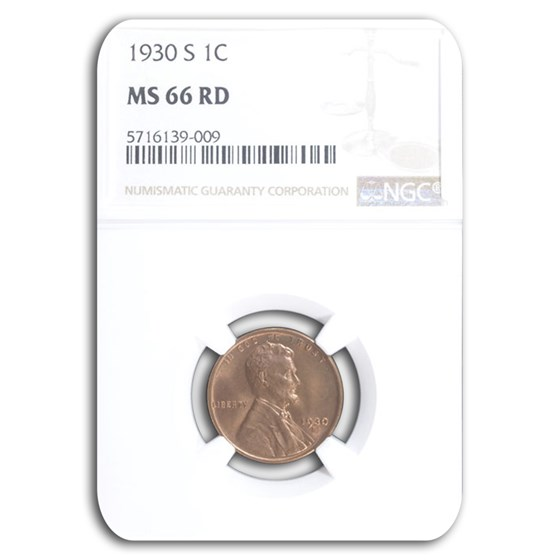1930-S Lincoln Cent MS-66 NGC (Red)