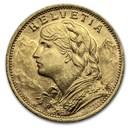 1930 Swiss Gold 20 Francs Helvetia BU
