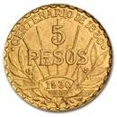 1930 Uruguay Gold 5 Pesos AU-BU