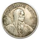 1931-1969 Switzerland Silver 5 Francs Avg Circ (ASW .4027)