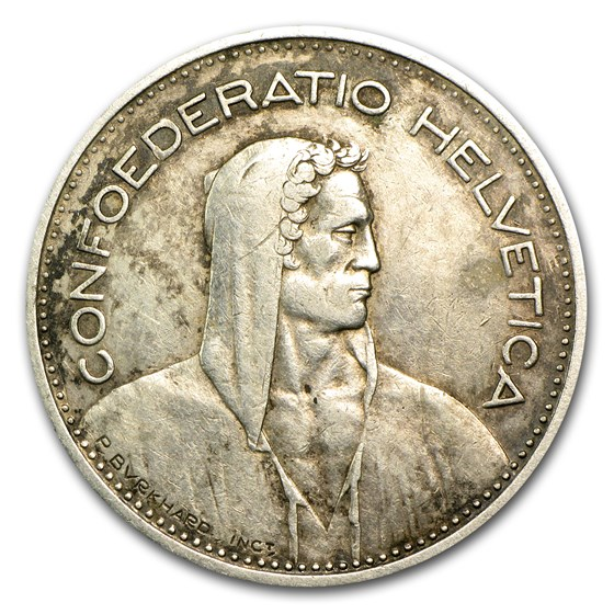 1931-1969 Switzerland Silver 5 Francs Avg Circ (ASW .4027)