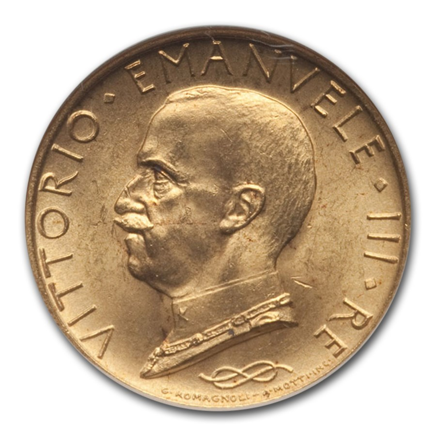 1931-R Italy Gold 100 Lire Vittorio Emanuele III MS-64 NGC