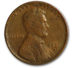 1931-S Lincoln Cent Fine Details (Scratches)