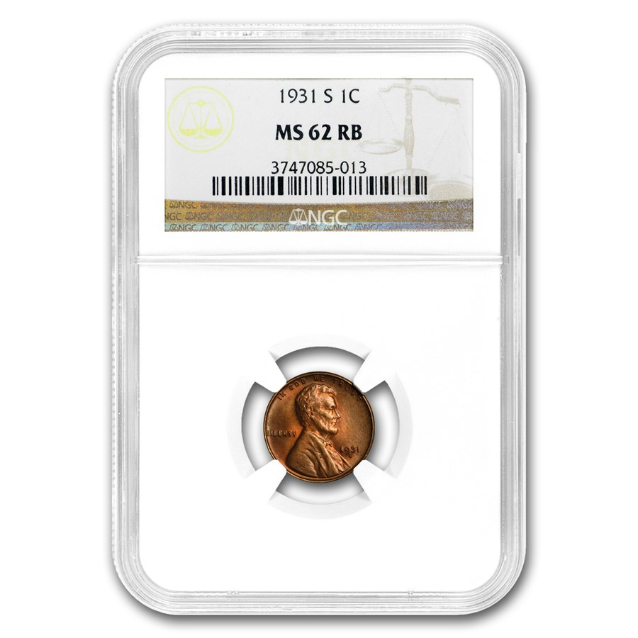 1931-S Lincoln Cent MS-62 NGC (Red/Brown)