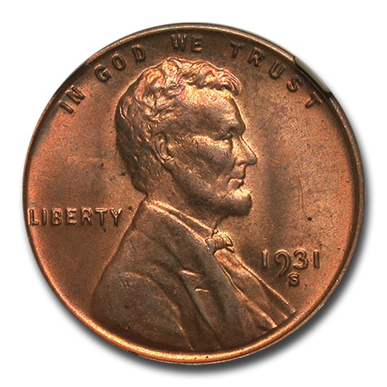 1931-S Lincoln Cent MS-63 NGC (Red/Brown)