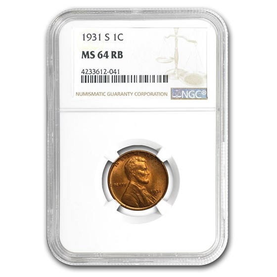 1931-S Lincoln Cent MS-64 NGC (Red/Brown)