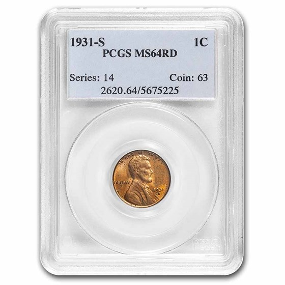 1931-S Lincoln Cent MS-64 NGC (Red)