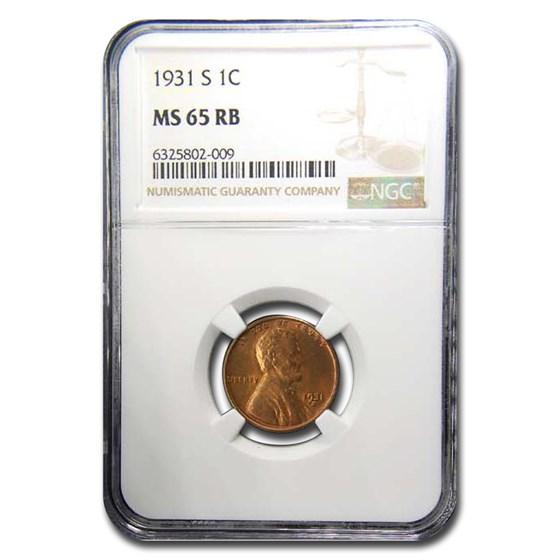 1931-S Lincoln Cent MS-65 NGC (Red/Brown)