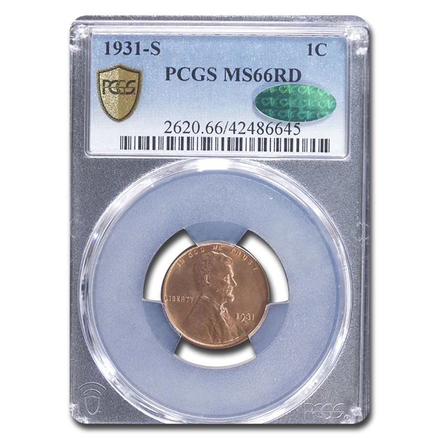 1931-S Lincoln Cent MS-66 PCGS CAC (Red)