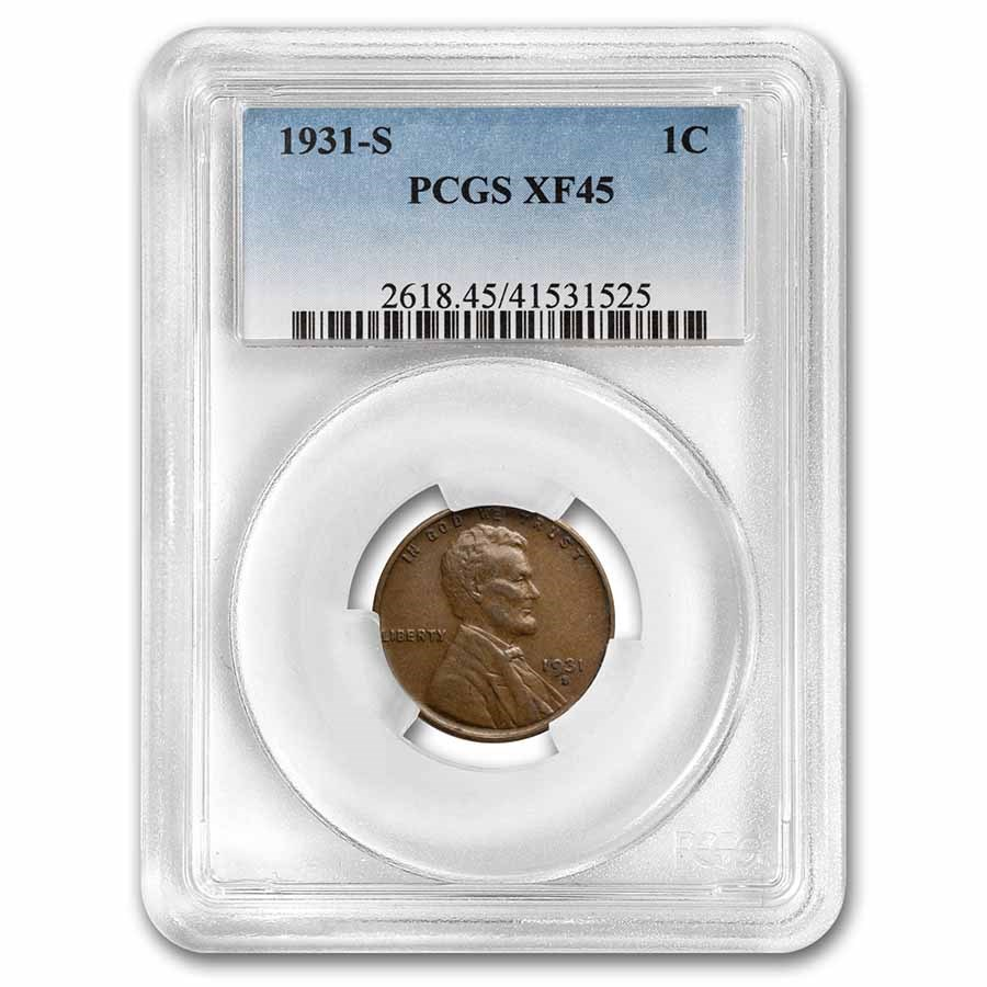 1931-S Lincoln Cent XF-45 PCGS