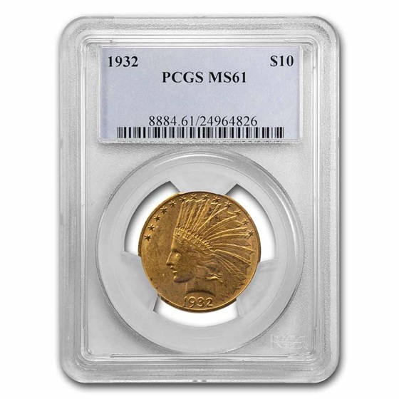 1932 $10 Indian Gold Eagle MS-61 PCGS