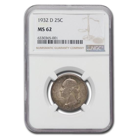 1932-D Washington Quarter MS-62 NGC