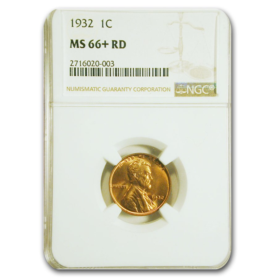 1932 Lincoln Cent MS-66+ NGC (Red)