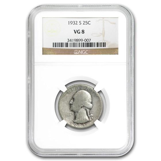 1932-S Washington Quarter VG-8 NGC