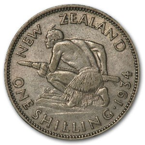 1933-1934 New Zealand Silver Shilling George V XF (ASW .0908)