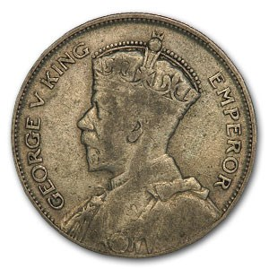 1933-35 New Zealand Silver 1/2 Crown George V VF