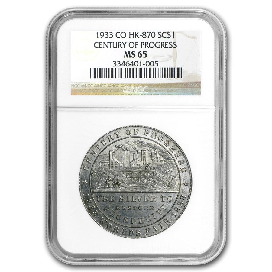 1933 Colorado Century of Progress Silver Dollar HK-870 MS-65 NGC