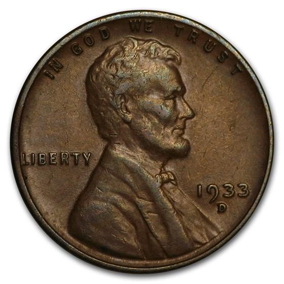 1933-D Lincoln Cent AU