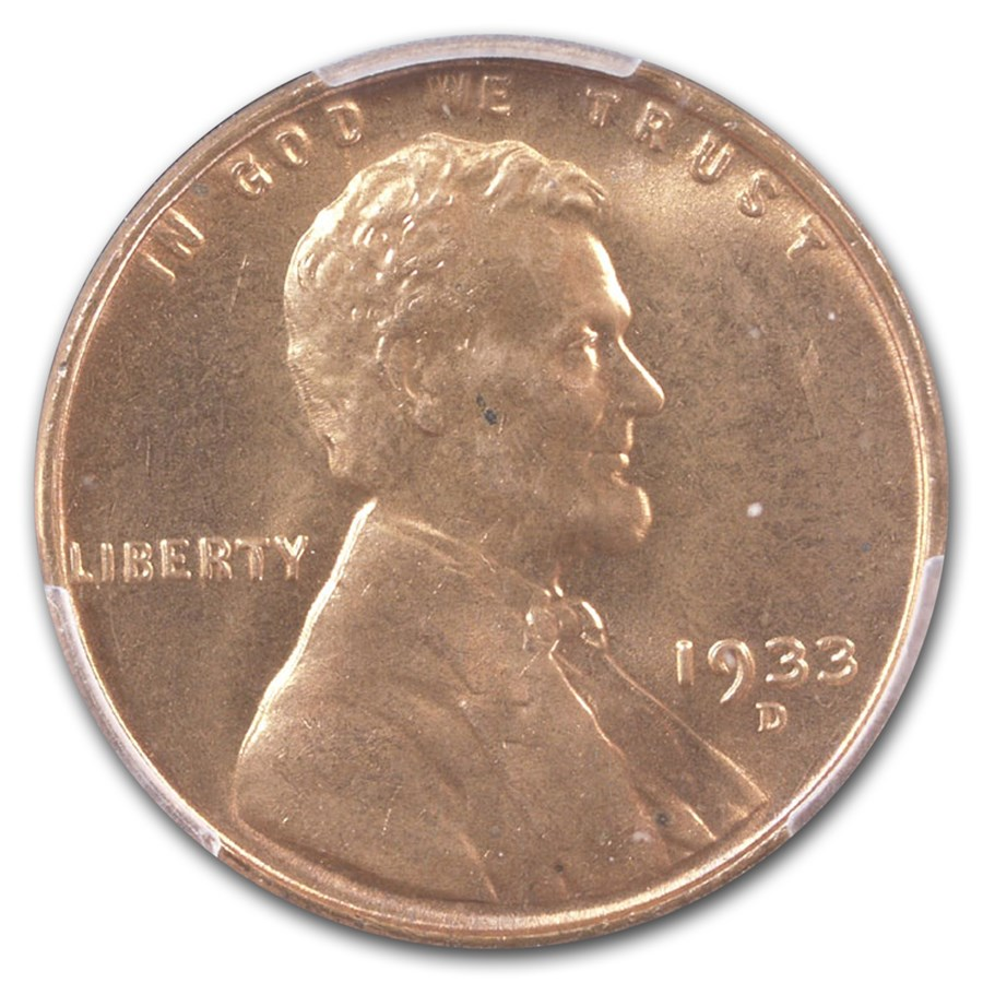 1933-D Lincoln Cent MS-66 PCGS (Red)