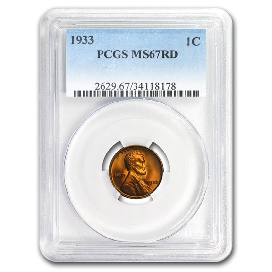 1933 Lincoln Cent MS-67 PCGS (Red)