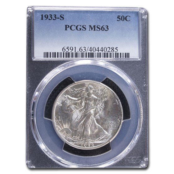 1933-S Walking Liberty Half Dollar MS-63 PCGS