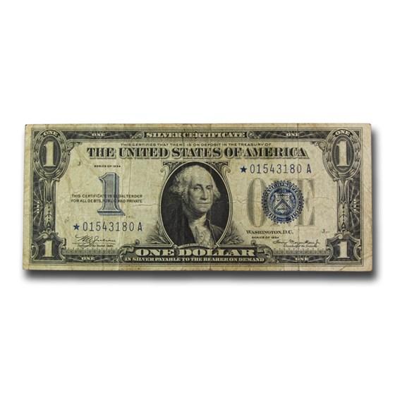 1934* $1.00 Silver Certificate Fine (Fr#1606*) Star Note