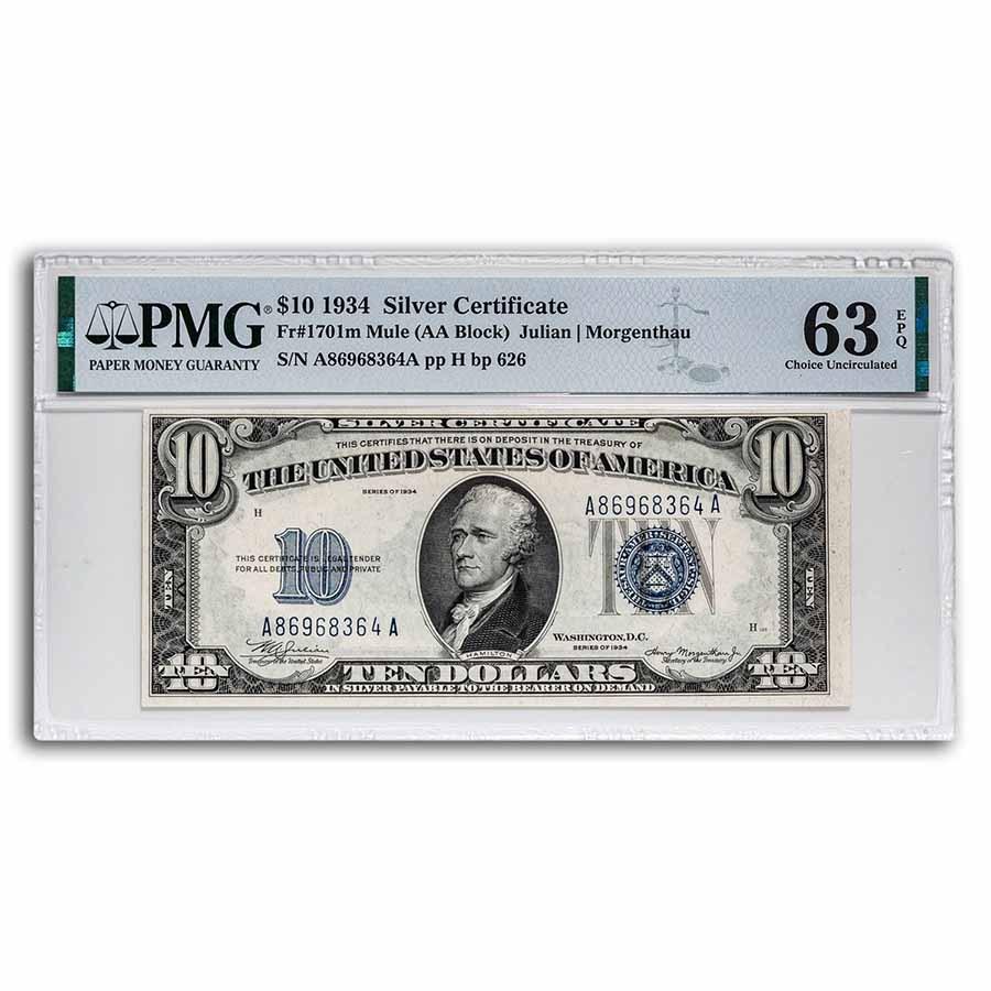 1934 $10 Silver Certificate CU-63 EPQ PMG (Fr#1701m) Mule