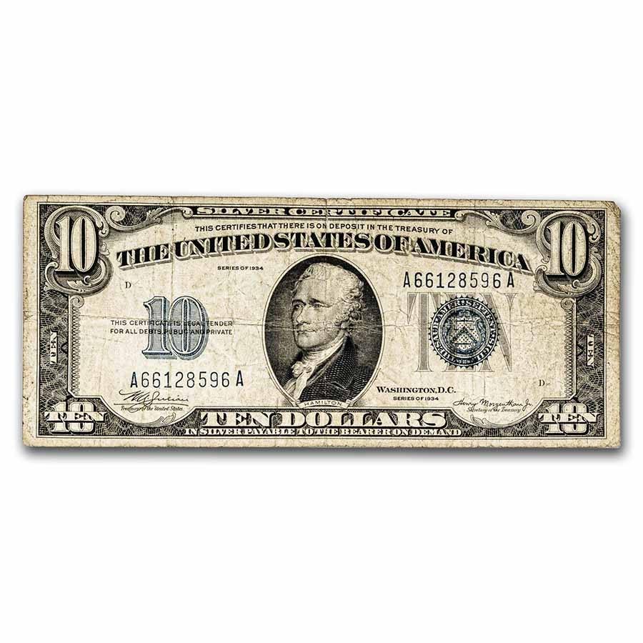1934 $10 Silver Certificate Fine (Fr#1701)