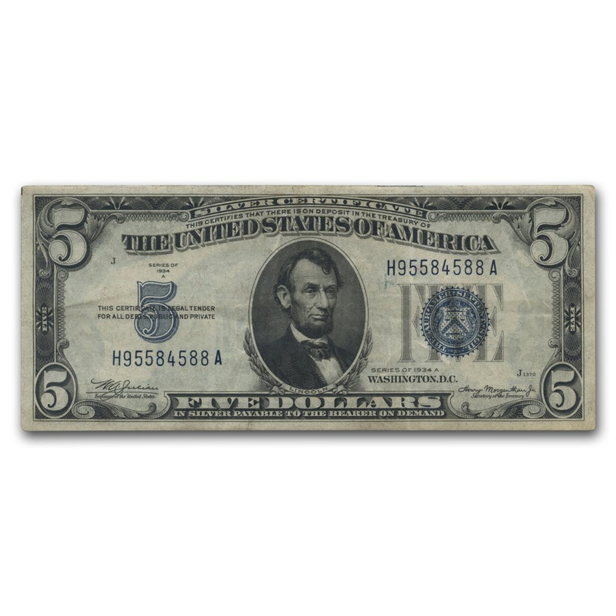 1934/1934-A $5.00 Silver Certificate Avg Circ VG/VF