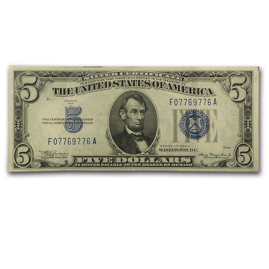 1934/1934-A $5.00 Silver Certificate XF