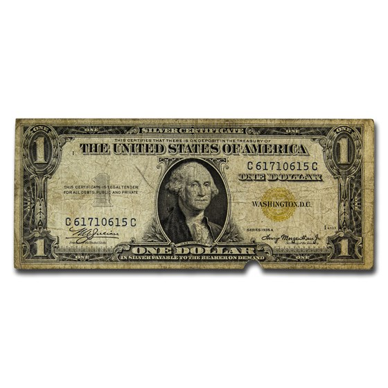 1934-1935 $1 Silver Certificate Yellow Seal North Africa Cull