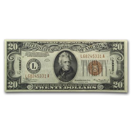 1934 $20 Brown Seal Hawaii XF