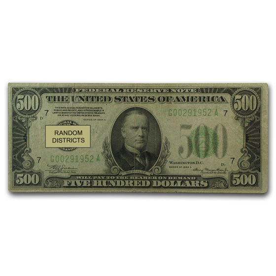 1934/34-A $500 FRN Fine or Better - (Districts of Our Choice)