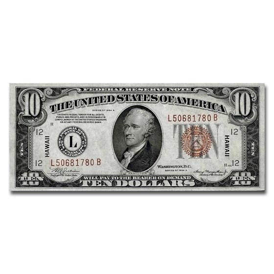 1934-A $10.00 Brown Seal Hawaii Gem CU-65 EPQ PMG (Fr#2303)