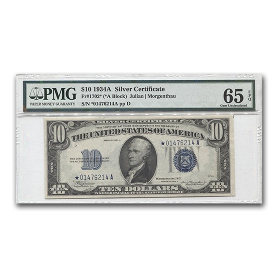 1934-A* $10 Silver Certificate Gem Unc-65 EPQ PMG (Star)
