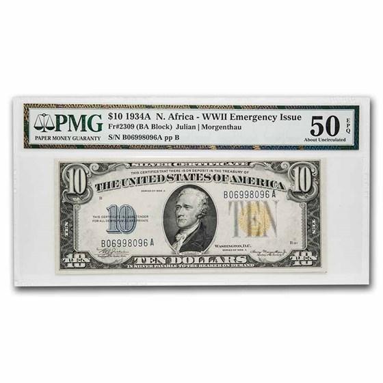 1934-A $10 Yellow Seal North Africa AU-50 EPQ PMG (Fr#2309)