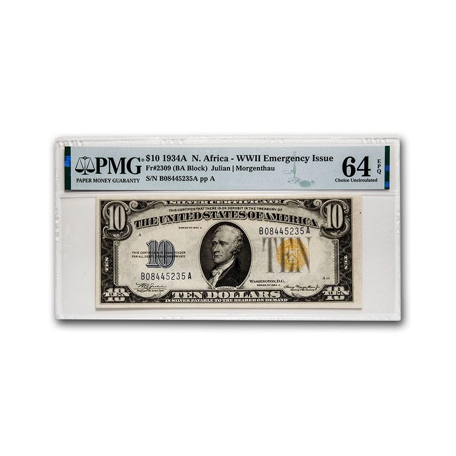 1934-A $10 Yellow Seal North Africa CU-64 EPQ PMG (Fr#2309)