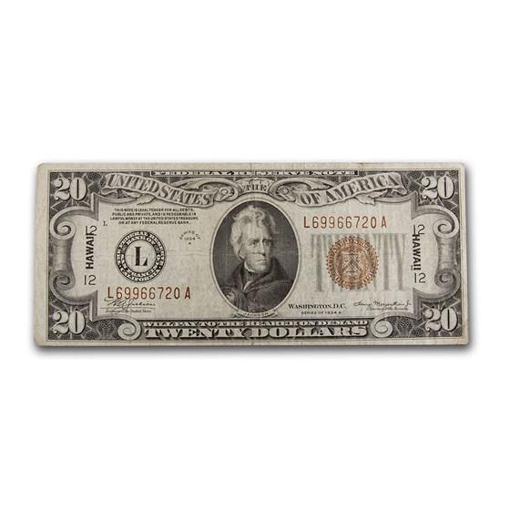 1934-A $20 Brown Seal Hawaii VF (Fr#2305)