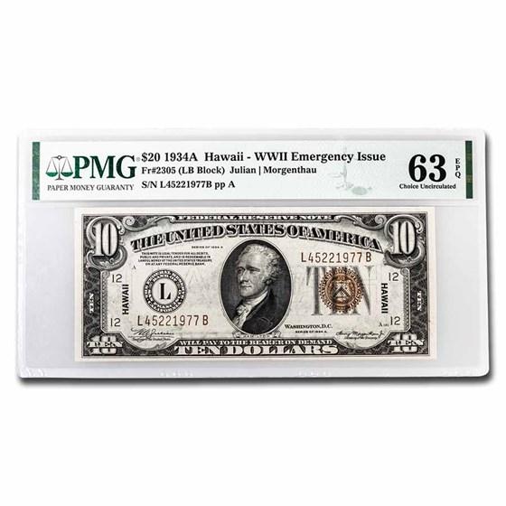 1934-A $5.00 Brown Seal Hawaii CU-63 EPQ PMG (Fr#2302)