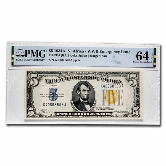 1934-A $5.00 Yellow Seal North Africa CU-64 EPQ PMG (Fr#2307)