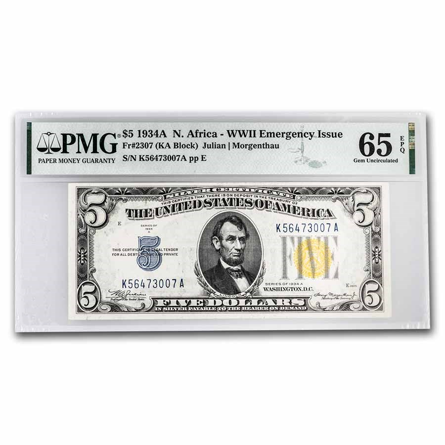 1934-A $5 Yellow Seal North Africa CU-65 EPQ PMG (Fr#2307)