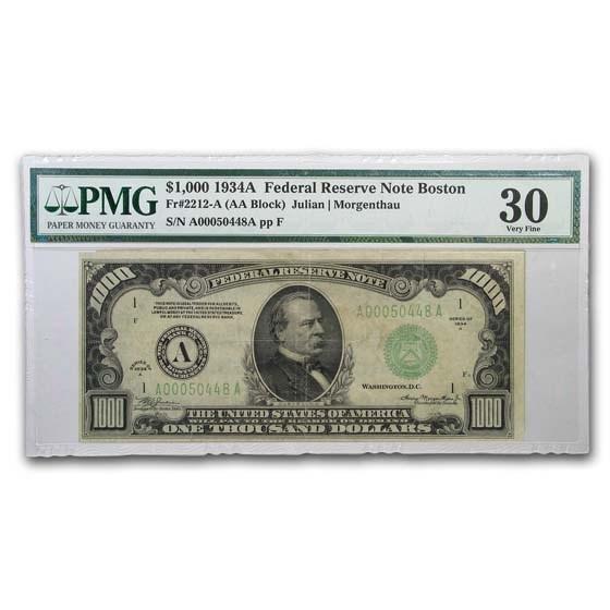 1934-A (A-Boston) $1,000 FRN VF-30 PMG (Fr#2212-A)