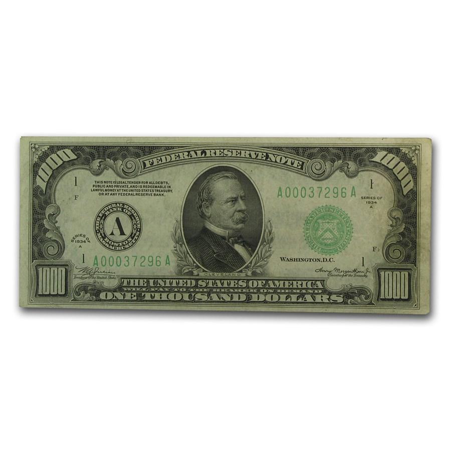 1934-A (A-Boston) $1,000 FRN VF+