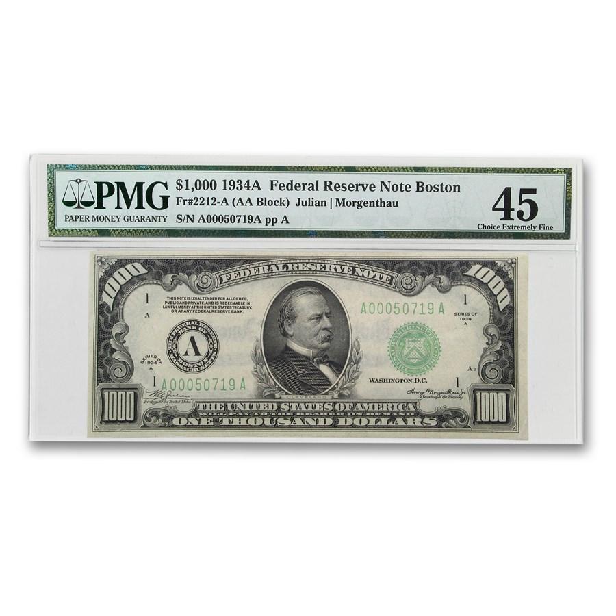 1934-A (A-Boston) $1,000 FRN XF-45 PMG