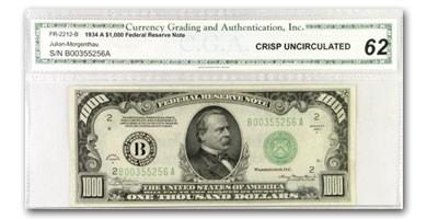 1934-A (B-New York) $1,000 FRN CU-62 CGA