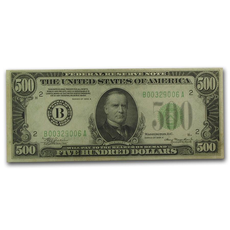 1934-A (B-New York) $500 FRN AU (Fr#2202-B)