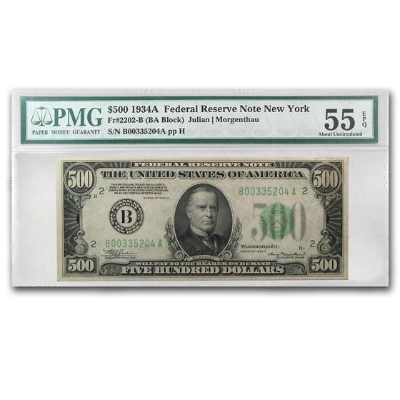 1934-A (B-New York) $500 FRN Ch AU-55 EPQ PMG