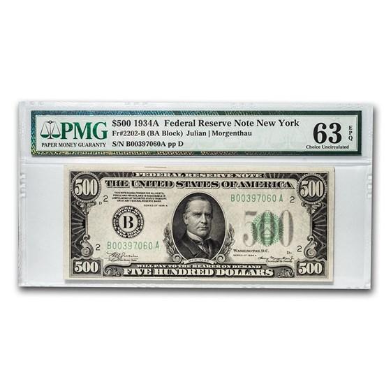 1934-A (B-New York) $500 FRN CU-63 EPQ PMG