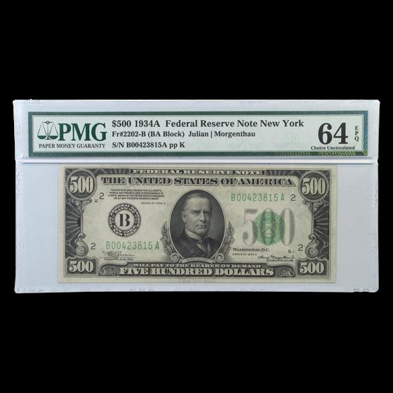 1934-A (B-New York) $500 FRN CU-64 EPQ PMG
